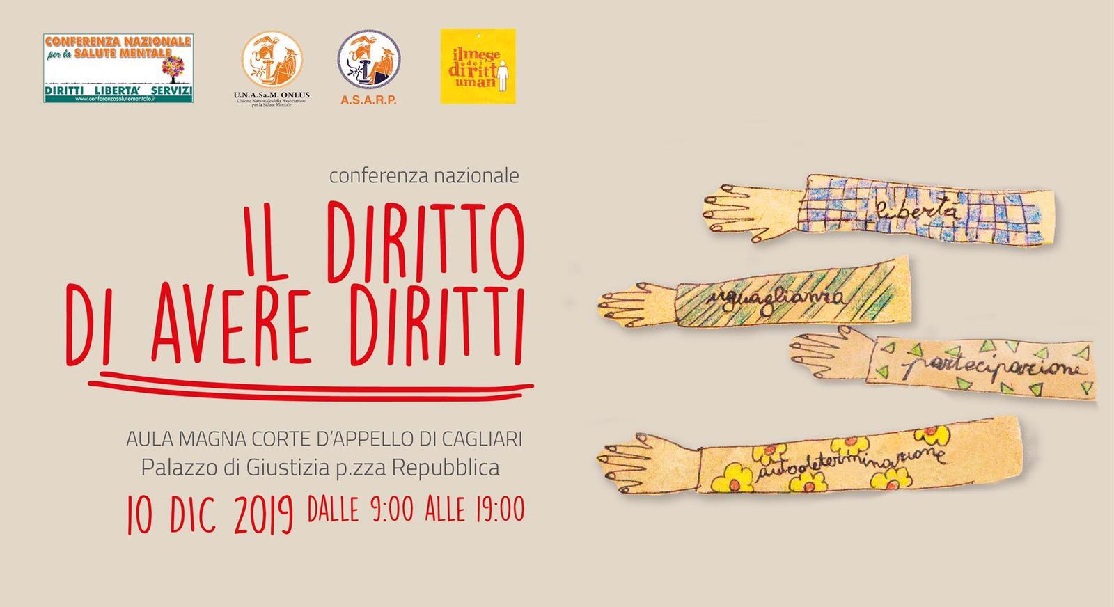 """Conferenza Nazionale """"Il diritto di avere diritti"""", Cagliari 10 dicembre 2019"""